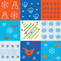 Set of winter holidays patterns Royalty Free Stock Images