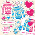 Set of winter love stickers with owl and heart. Sweater, mittens