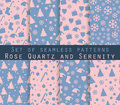 Set of winter seamless patterns. Rose quartz and serenity violet