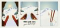Set of winter ski vintage posters. Skier getting ready to descend the mountain. Winter background.