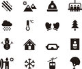 Set of winter and skiing web icons