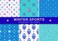Set winter sport seamless patterns. Holiday recreation fun, ski, snowboard