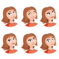 Set of woman face icons
