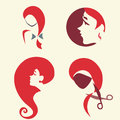 Set of woman faces collection symbolic icon with girl s hairdress theme Royalty Free Stock Photos