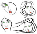 Set of woman faces Royalty Free Stock Photo