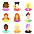 Set of woman, girl japan, punk, emo, teacher. vector illustratio