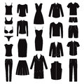 Set of woman and man clothes icons, illustration Royalty Free Stock Photo