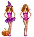 Set woman pinup halloween autumn party sexy witch illustration digital painting Stock Image