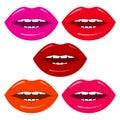 Set of woman`s lips. Vector illustration
