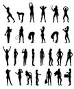 Set of woman silhouette Stock Images
