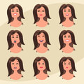 Set of womans emotions. Facial expression. Girl Avatar. Vector illustration in flat design style