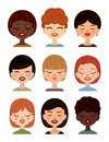 Set of women avatars, profile pictures. Vector girls avatar, flat icons. Royalty Free Stock Photo