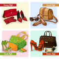 Set of women bags shoes and accessories elegant in evening fashion casual beach style isolated vector illustration Stock Photography