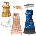 Set of women dresses and belts. Collection of classic clothes for girls, different colors, with sparkles