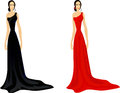 Set of women in evening dress Stock Photos