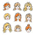 Set of women faces, human heads. Different vector characters like redhead and blonde females, attractive ladies face features col