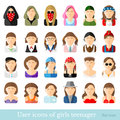 Set of women icons in flat style different age and style of youth movements isolated on white Stock Photography