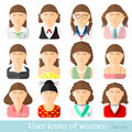 Set of women icons in flat style. Different occupations age and style Royalty Free Stock Photo