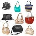 Set women's handbags Royalty Free Stock Photo