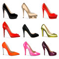 Set of women's shoes with heels Royalty Free Stock Images