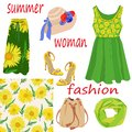 Set of women`s summer fashion items and seamless pattern of bright yellow colors on white background