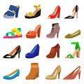 Set of womens shoes flat design vector.