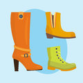 Set of womens shoes flat design vector collection of leather colored moccasins boots illustration.
