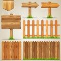Set Of Wood Elements For Design