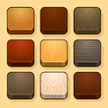 Set of wood ios icons textures this is file eps format Royalty Free Stock Images