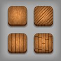Set of wood textured buttons Stock Photos