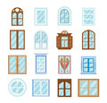 Set of wood window frames, architecture design outdoor, exterior view. Royalty Free Stock Photo