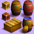 Set of wooden barrels and boxes. Royalty Free Stock Photo