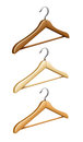 Set of wooden coat hangers for wardrobe clothes Royalty Free Stock Photo
