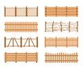 Set Wooden different garden fences. Rural fencing wood boards construction