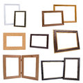 Set of wooden picture frames isolated on white background the Royalty Free Stock Images