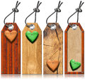 Set of Wooden Tags with Hearts Royalty Free Stock Photo