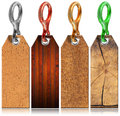 Set of Wooden Tags with Metal Ring - 4 items Royalty Free Stock Photo