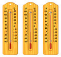Set of wooden thermometers at different levels, vector