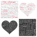 Set of word cloud hearts and seamless backgrounds. Phrase I love you in many languages.