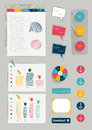 Set of work office web layout elements. Royalty Free Stock Photo