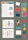 Set of work office web layout elements. Royalty Free Stock Photo