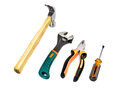 Set of work tools hammer screwdriver wrench and pliers Royalty Free Stock Photos