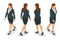 Set of working elegant business women in formal clothes. on white background. Create your isometric person for vector