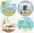 Set of workplace and relax round web banners in flat style. Bright design office, cafe, parks, hammock on island.