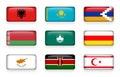 Set of world flags rectangle buttons Albania . Kazakhstan . Nagorno-Karabakh . Belarus . Macao . South Ossetia . Cyprus . Kenya