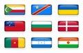 Set of world flags rectangle buttons Comoros . Democratic Republic of the Congo . Ukraine . Samoa , Bulgaria . Denmark . Cameroo