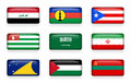Set of world flags rectangle buttons  Iraq . New Caledonia . Puerto Rico . Abkhazia . Saudi Arabia . Iran . Tokelau . Palestine . Royalty Free Stock Photo