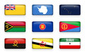 Set of world flags rectangle buttons Niue . Antarctica . Alaska . Vanuatu . ASEAN . Eritrea . Angola . Brunei Darussalam . Somal