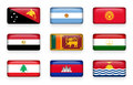 Set of world flags rectangle buttons  Papua New Guinea . Argentina . Kyrgyzstan . Egypt . Sri Lanka. Tajikistan . Lebanon . Cambo Royalty Free Stock Photo