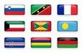Set of world flags rectangle buttons  Slovenia . Saint Kitts and Nevis . France . Kuwait . Grenada . Palau . Cape Verde . Mauriti Royalty Free Stock Photo